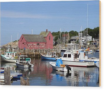 Wood Print featuring the photograph The Boat Yard At Rockport by Mary Lou Chmura