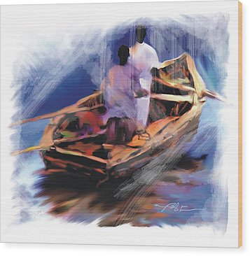 Wood Print featuring the painting The  Boatmen by Bob Salo