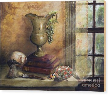 The Books By The Window Wood Print by Sandra Aguirre