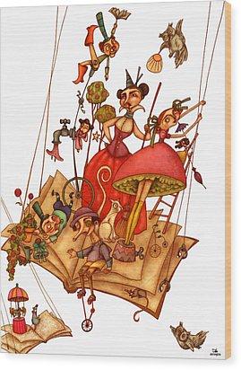 The Books World Wood Print by Autogiro Illustration