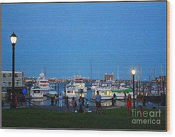 The Boston Wharf In The Early Evening Wood Print by Dora Sofia Caputo Photographic Art and Design