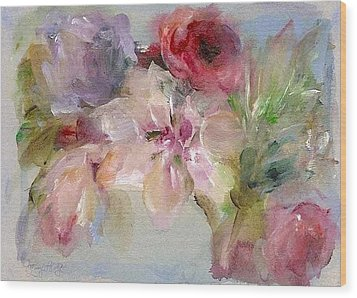 Wood Print featuring the painting The Bouquet by Mary Wolf