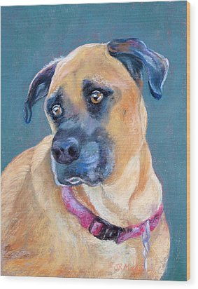 Wood Print featuring the pastel The Boxer by Julie Maas