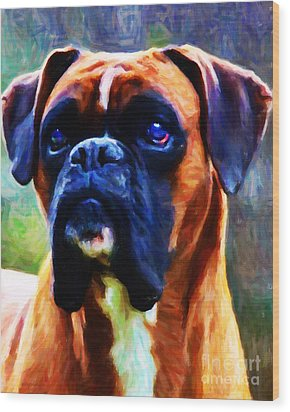 The Boxer - Painterly Wood Print by Wingsdomain Art and Photography