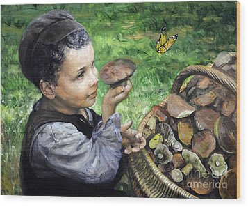 The Boy In The Woods Wood Print by Eugene Maksim