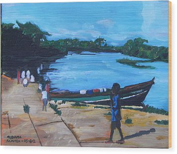 The Boy Porter  Sierra Leone Wood Print by Mudiama Kammoh