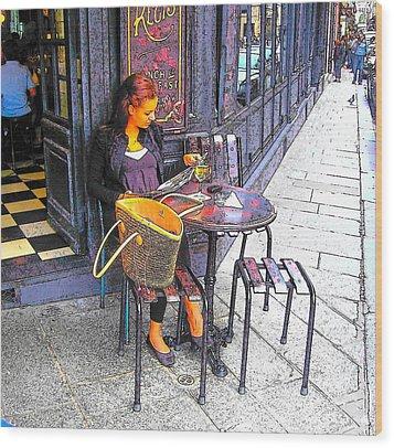 The Brasserie In Paris Wood Print by Jan Matson