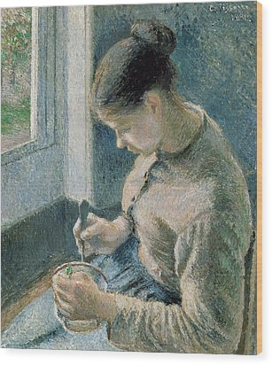 The Breakfast Wood Print by Camille Pissarro