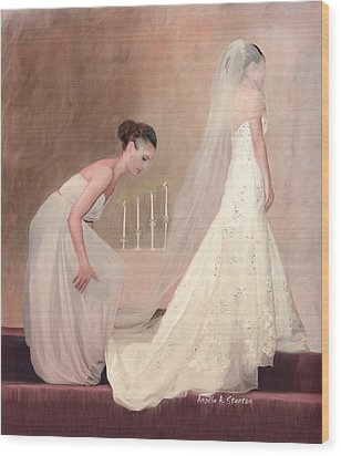 The Bride And Her Maid Of Honor Wood Print by Angela A Stanton