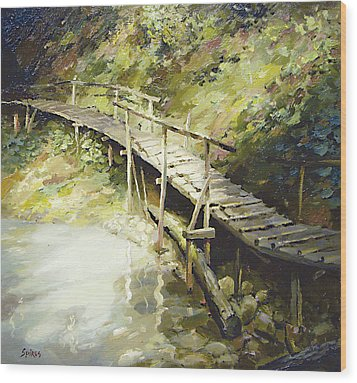 Wood Print featuring the painting The Bridge In The Mountains by Dmitry Spiros