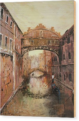 The Bridge Of Sighs Venice Italy Wood Print by Jean Walker