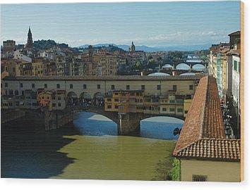 The Bridges Of Florence Italy Wood Print by Georgia Mizuleva