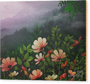 The Brighter Side Of The Dark Mountains Wood Print by Bedros Awak