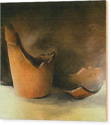 The Broken Terracotta Pot Wood Print by Michelle Calkins