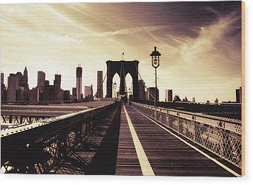The Brooklyn Bridge - New York City Wood Print by Vivienne Gucwa