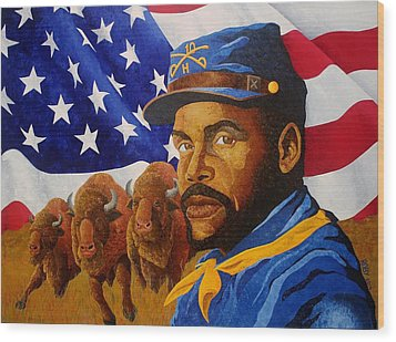 The Buffalo Soldier Wood Print by William Roby