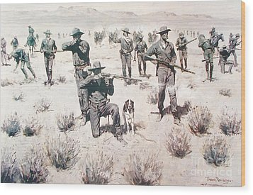 The Bullets Kicked Up Dust Wood Print by Pg Reproductions
