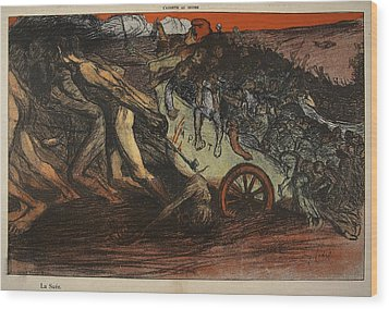 The Burden Of Taxation, Illustration Wood Print by Eugene Cadel