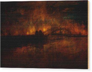 The Burning Of Sydney Wood Print
