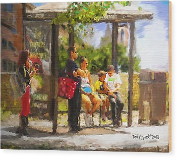 The Bus Stop Wood Print by Ted Azriel