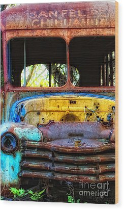 The Bus Stops Here Wood Print