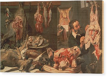 The Butcher's Shop Wood Print by Frans Snyders