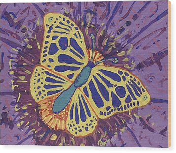 Wood Print featuring the painting The Butterfly Conspiracy by Yshua The Painter