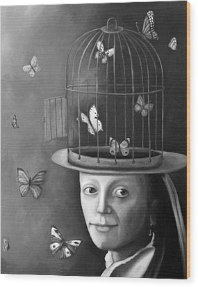 The Butterfly Keeper Bw Wood Print by Leah Saulnier The Painting Maniac