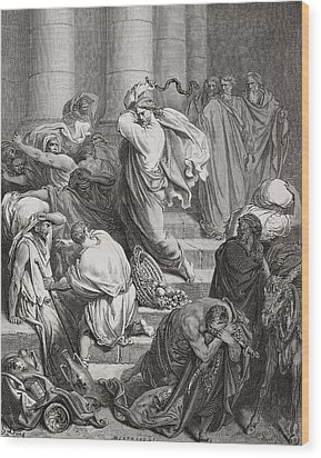 The Buyers And Sellers Driven Out Of The Temple Wood Print by Gustave Dore