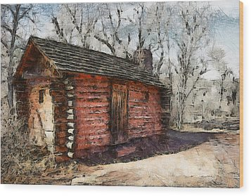 The Cabin Wood Print by Ernie Echols