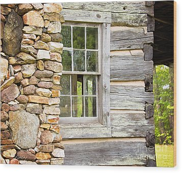 The Cabin Window Wood Print