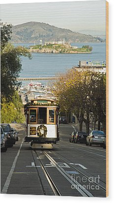 The Cable Car And Alcatraz Wood Print by Micah May