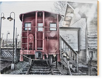 The Caboose Wood Print by Bill Cannon