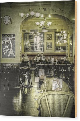 The Cafe Wood Print by Janet Meehan