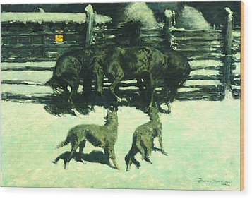 The Call For Help Wood Print by Fredrick Remington