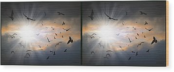 The Call - The Caw - Gently Cross Your Eyes And Focus On The Middle Image Wood Print by Brian Wallace