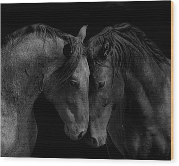 The Calm In Black And White Wood Print