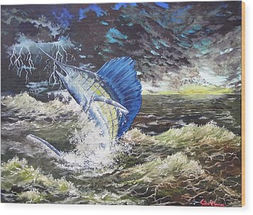 The Calm The Crazy The Sailfish Wood Print by Kevin F Heuman