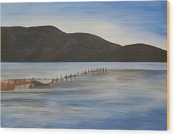 Wood Print featuring the painting The Calm Water Of Akyaka by Tracey Harrington-Simpson