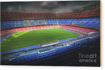The Camp Nou Stadium In Barcelona Wood Print