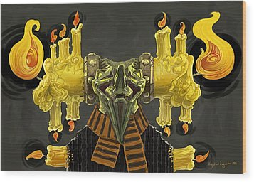 The Candle Man Wood Print by Augustinas Raginskis