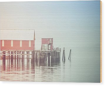 The Cannery In Fog Wood Print by Michele Cornelius