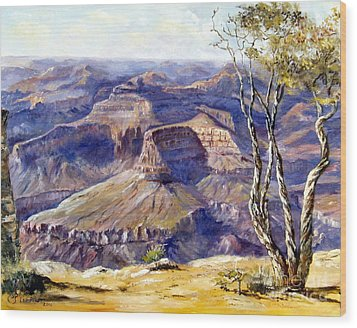 Wood Print featuring the painting The Canyon by Lee Piper