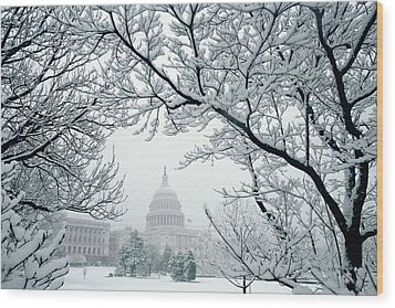 The Capitol In Snow Wood Print by Joe  Connors