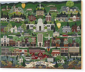 Wood Print featuring the painting The Capitol Salem by Jennifer Lake
