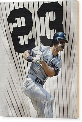 The Captain Donnie Baseball Don Mattingly Wood Print by Iconic Images Art Gallery David Pucciarelli