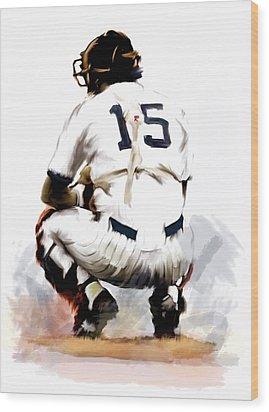 The Captain  Thurman Munson Wood Print by Iconic Images Art Gallery David Pucciarelli