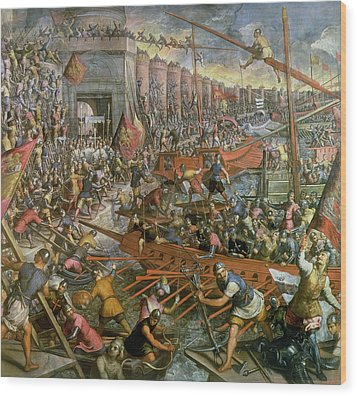The Capture Of Constantinople In 1204 Wood Print by Jacopo Robusti Tintoretto