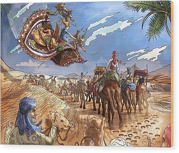 The Caravan In The Sahara Wood Print by Reynold Jay