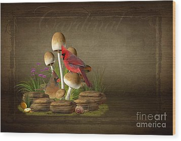 The Cardinal Wood Print by Davandra Cribbie
